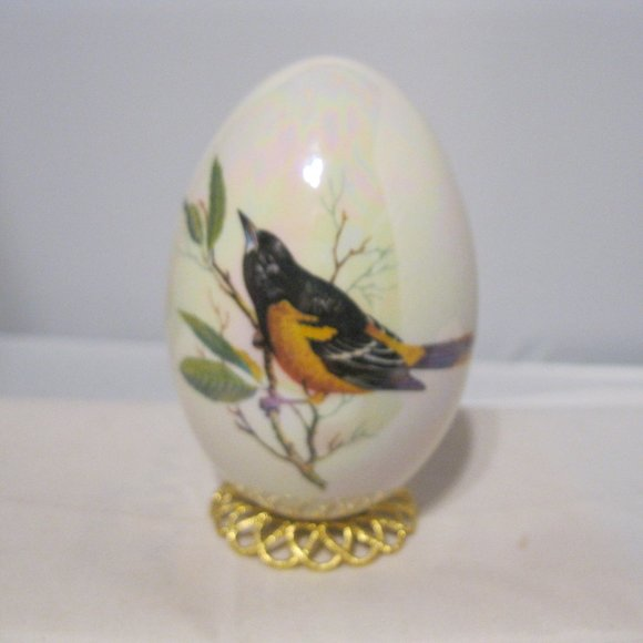 Hand Blown Glass Egg Hand Painted Baltimore Oriole